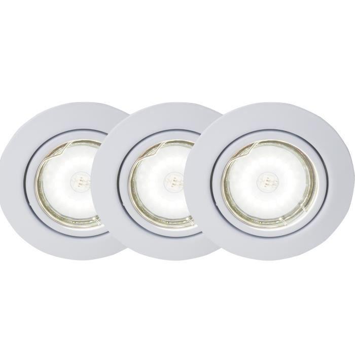BRILLIANT Kit de 3 spots encastrable orientables LED Honor diamètre 9 cm GU10 5W blanc