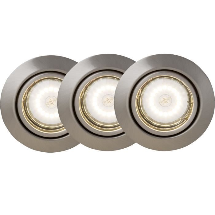 Kit de 3 spots LED encastrables orientables Honor GU10 5W gris