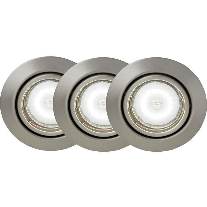 BRILLIANT Kit de 3 spots encastrable orientables LED Honor diamètre 9 cm GU10 5W acier