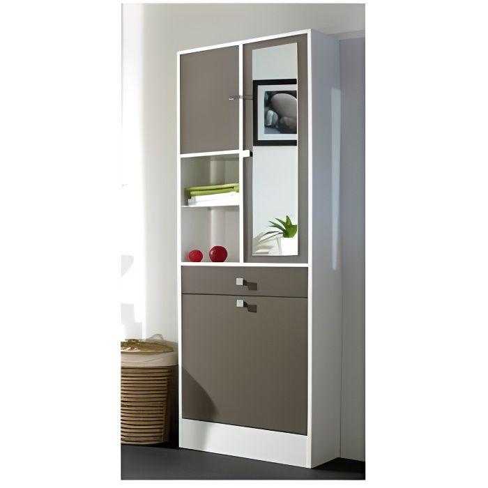 GALET Armoire de toilette L 60 cm - Blanc et taupe mat