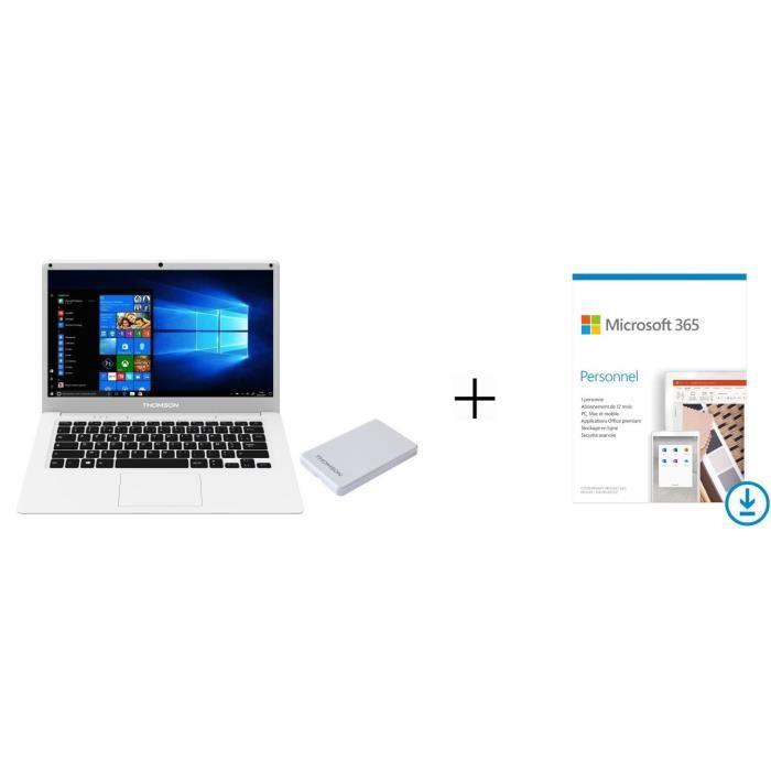 Pack THOMSON PC Portable TH14A64W120 - 14,1- HD - 4Go - 64Go SSD - Disque Dur Externe 120Go + Microsoft 365 Personnel à télécharger