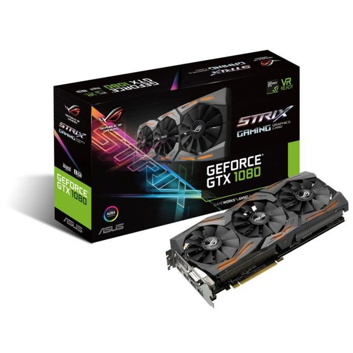 Asus Carte graphique GeForce® GTX 1080 STRIX A8G GAMING 8Go GDDR5