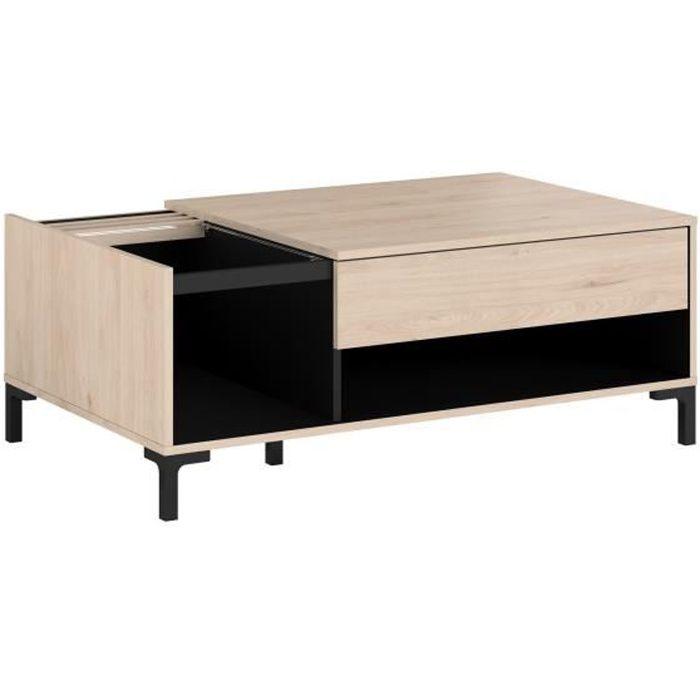 PARISOT Table basse plateau en verre 1 Tiroir - Décor Chêne Jackson et Noir - LXHXP: L 110 x P 67 x 42.5 cm - TOKYO