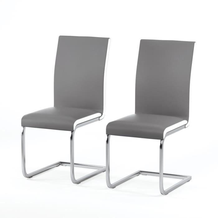 LEA Lot de 2 chaises de salle à manger en simili gris - Contemporain - L 43 x P 56 cm