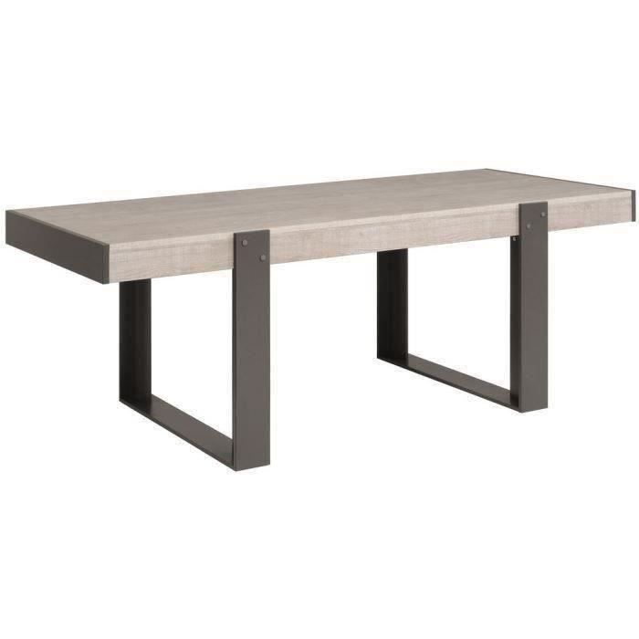 LOFT Table à manger de 8 à 10 personnes style contemporain décor bois naturel - L 224 x l 90 cm