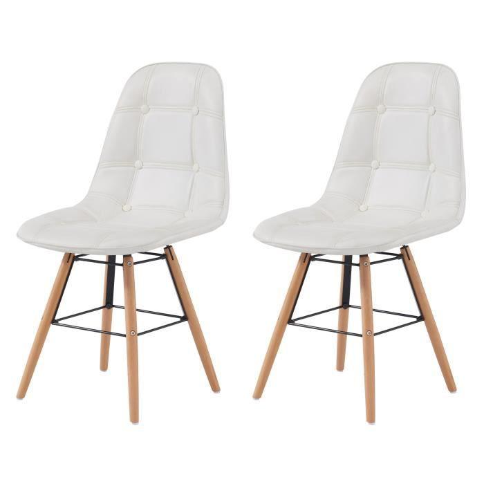 HEMA Lot de 2 chaises de salle à manger - Simili blanc et pieds en hêtre massif - Scandinave - L 44 x P 53 cm