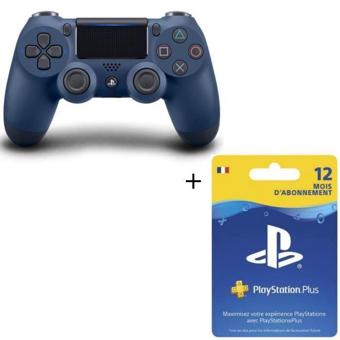 Manette PS4 DualShock 4 Midnight Blue V2 + Abonnement Playstation Plus 12 Mois