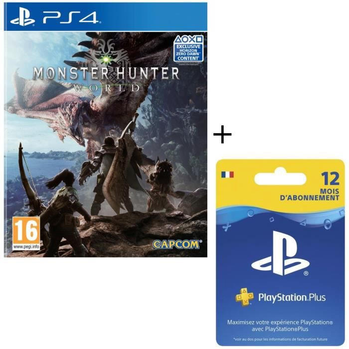 Monster Hunter World jeu PS4 + Abonnement Playstation Plus 12 Mois