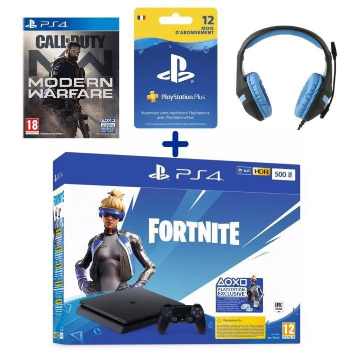 PS4 Slim 500 Go + Call Of Duty Modern Warfare + Casque Konix PS-400 Bleu + Abonnement 12 Mois PS Plus + Voucher Fortnite