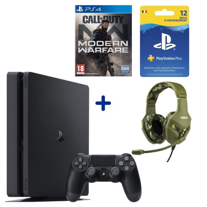 PS4 Slim 500 Go + Call Of Duty Modern Warfare + Casque Konix PS-400 Camouflage + Abonnement 12 Mois PS Plus