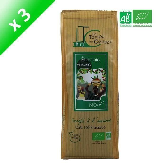 [LOT DE 3] LE TEMPS DES CERISES Café moulu BIO Moka d'Ethiopie - 250 G