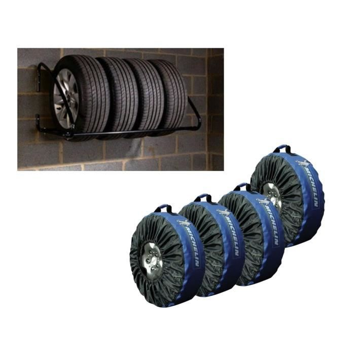 MOTTEZ Pack 4 housses pneus + rack