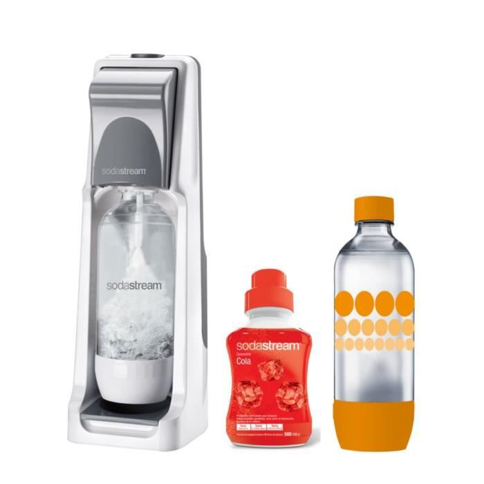 SODASTREAM Pack : Machine à gazéifier Cool Titan + 1 concentré cola 500ml + 1 bouteille Grand modèle Pet