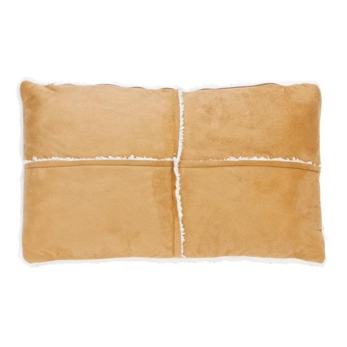 Coussin patchwork - Sherpa - 30*50 cm - Beige pour 6€