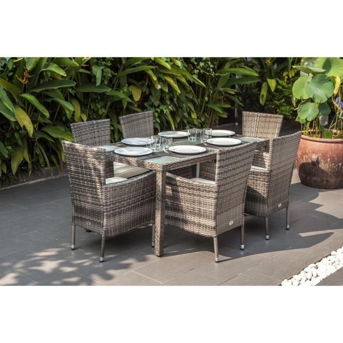 Ensemble repas de jardin 6 personnes -table 150x90cm + 6 fauteuils avec coussins- Plateau verre trempé et résine tressée- Gris- BORA