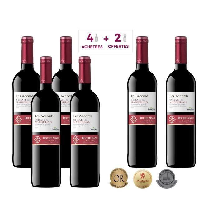Les Accords de Roche Mazet Syrah & Marselan 2019 Pays d'Oc - Vin rouge de Languedoc - 4 achétées + 2 offertes