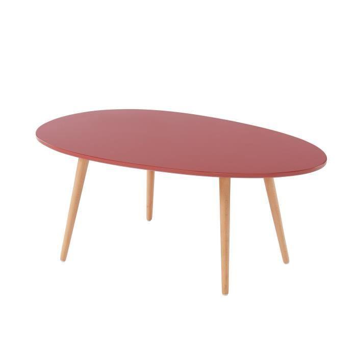 STONE Table basse ovale - Décor rouge amarante - Style scandinave - L 98 x P 61 x H 39cm