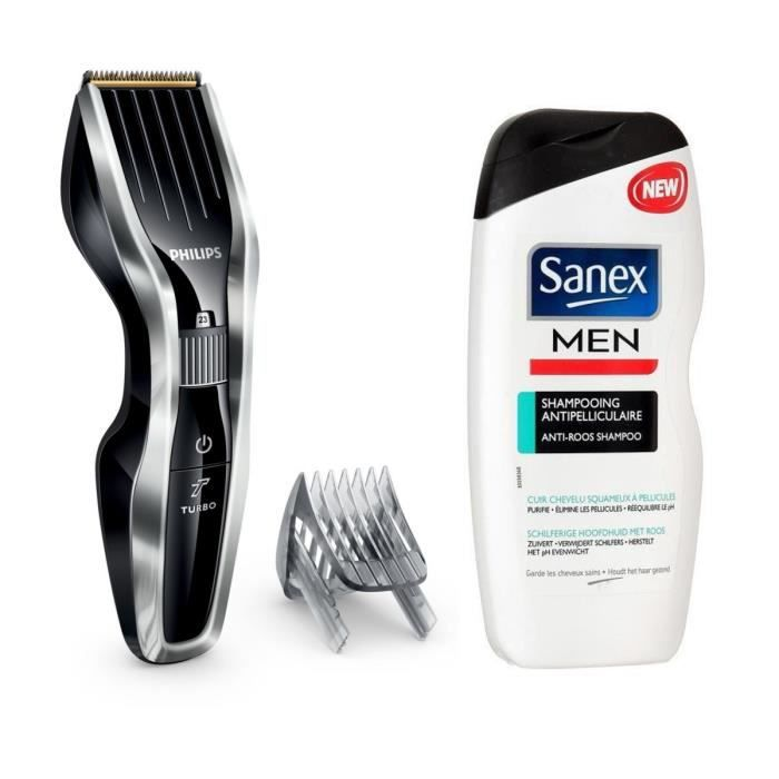 Pack : PHILIPS Series 5000 HC5450/16 Tondeuse cheveux - Noir + SANEX Shampoing Homme - Antipelliculaire - 250ml