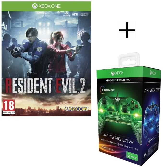 Resident Evil 2 Jeu Xbox One + Manette filaire PDP Afterglow Prismatic V2