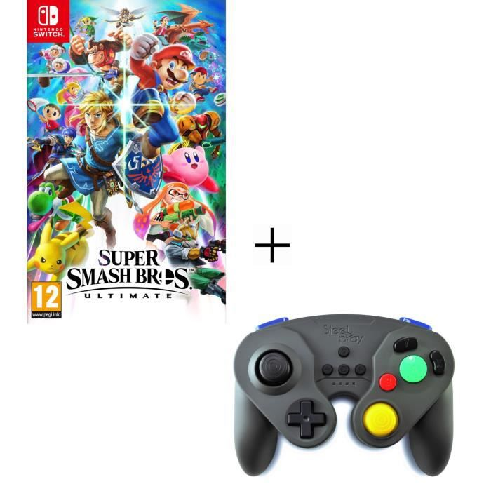 Super Smash Bros Ultimate Nintendo + Manette sans fil grise pour Switch