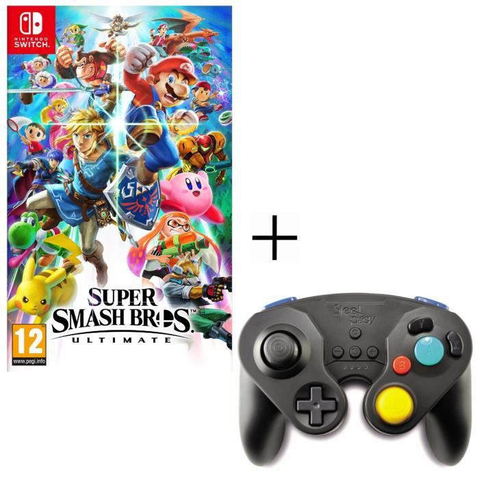 Pack Super Smash Bros Ultimate Jeu Switch + Manette Néo Rétro Sans Fil Steelplay Noire pour Switch