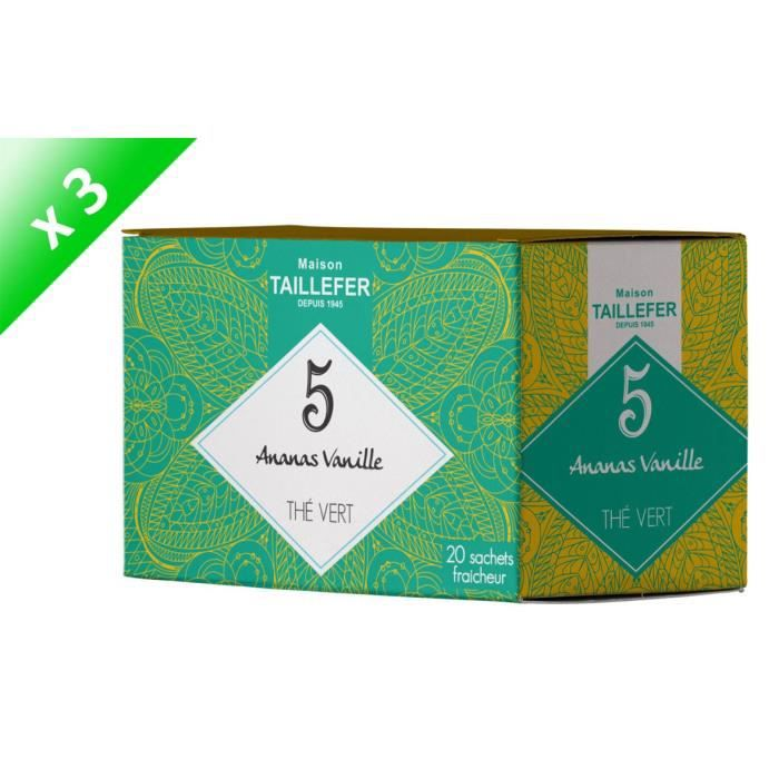 [LOT DE 3] MAISON TAILLEFER Thé Vert Ananas, Vanille en Boite de 20 Sachets Individuels