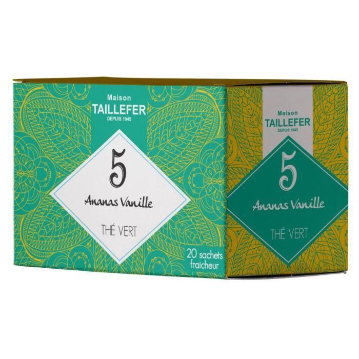 MAISON TAILLEFER Thé Vert Ananas, Vanille en Boite de 20 Sachets Individuels