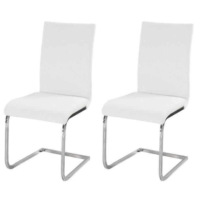 LEA Lot de 2 chaises de salle à manger - Simili blanc - Style contemporain - L 43 x P 56 cm