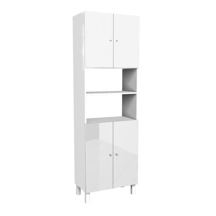 CORAIL Armoire de salle de bain L 60 cm - Blanc laqué