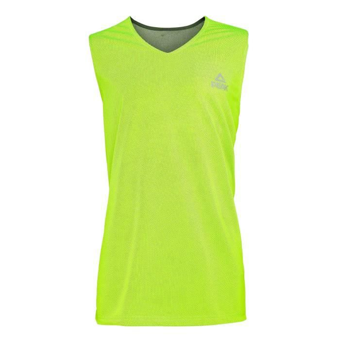 PEAK Maillot de basketball Réversible - Homme - Noir et vert lime