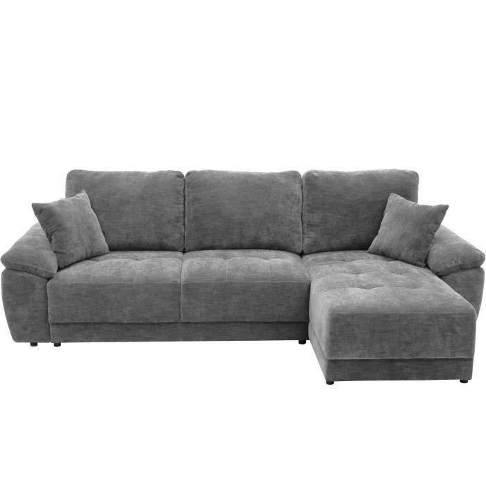 Canapé d'angle convertible réversible + Coffre de rangement - Tissu Gris anthracite + 2 coussins - ARIEL - L 263 x P 150 x H 88 cm