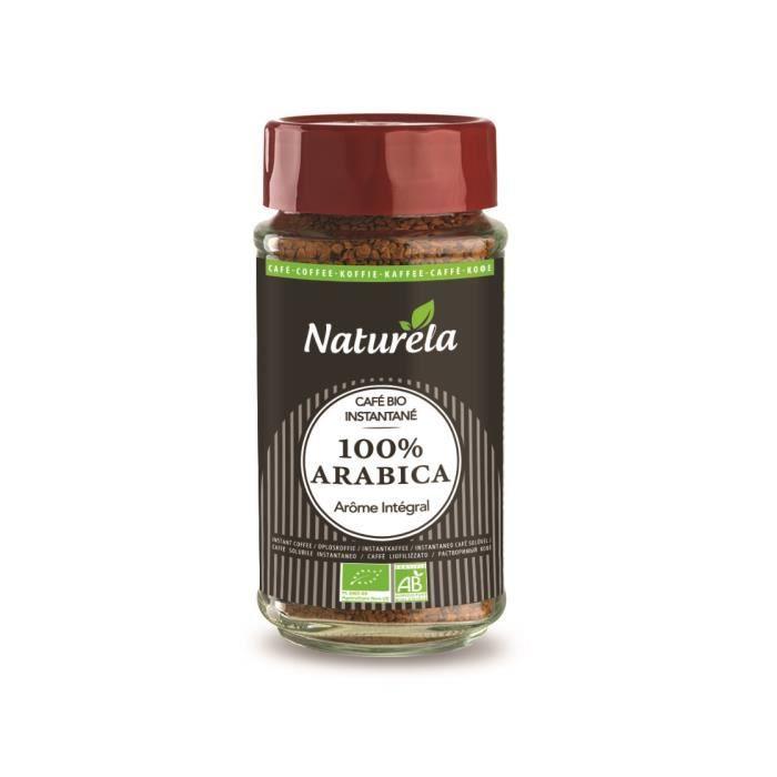 NATURELA Café instantané lyophilisé - 100 % Arabica - BIO - Bocal 100 g