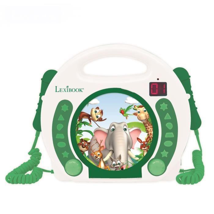 LEXIBOOK Lecteur CD portable avec 2 microphones Animaux