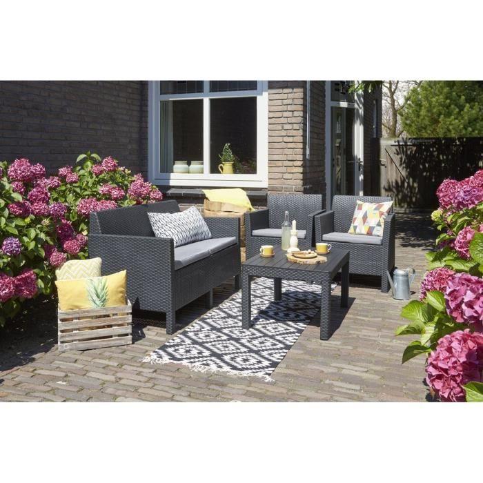 ORLANDO Salon de jardin 4 places en imitation résine tressée - 1 canapé, 2 fauteuils et une table basse rectangulaire - Graphite