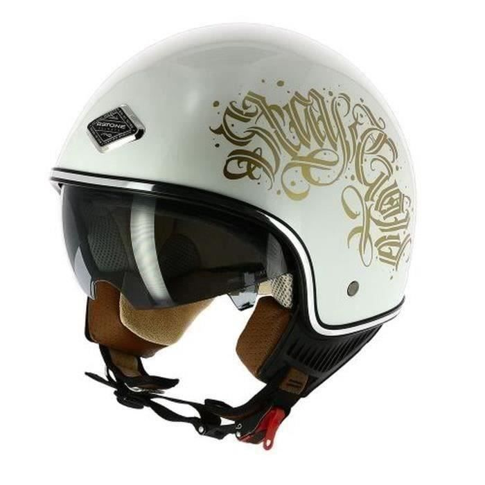 ASTONE Casque moto Jet mini 66 Black Letters - Blanc perle