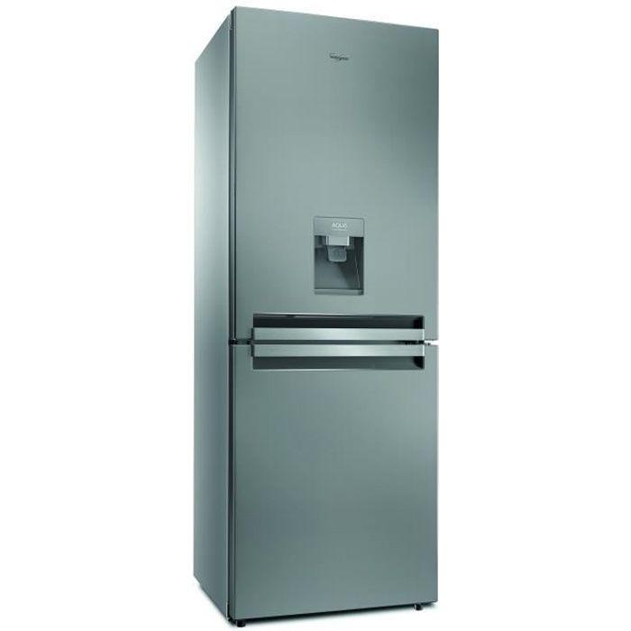 WHIRLPOOL BTNF5011OXAQUA - Réfrigérateur congélateur bas - 445L (297+148) - Froid ventilé - A+ - L 70cm x H 195cm - Inox