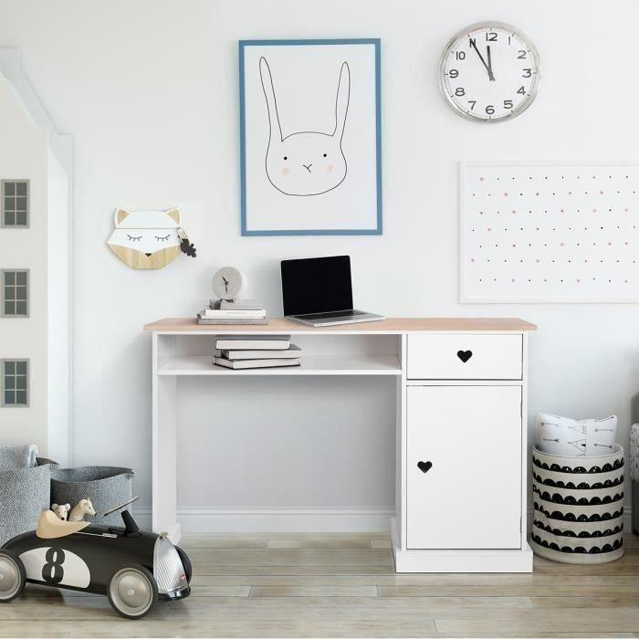 Bureau enfant avec 1 porte et 1 tiroir - Décor Chêne et laqué blanc - MDF et Pin Massif - L120 x P 55 x H76,5 cm - HARO