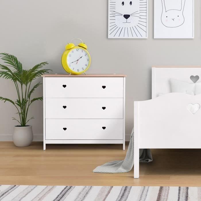 Commode enfant 3 tiroirs - Décor Chêne et laqué blanc -MDF et Pin Massif - L90 x P 39 x H81 cm - HARO