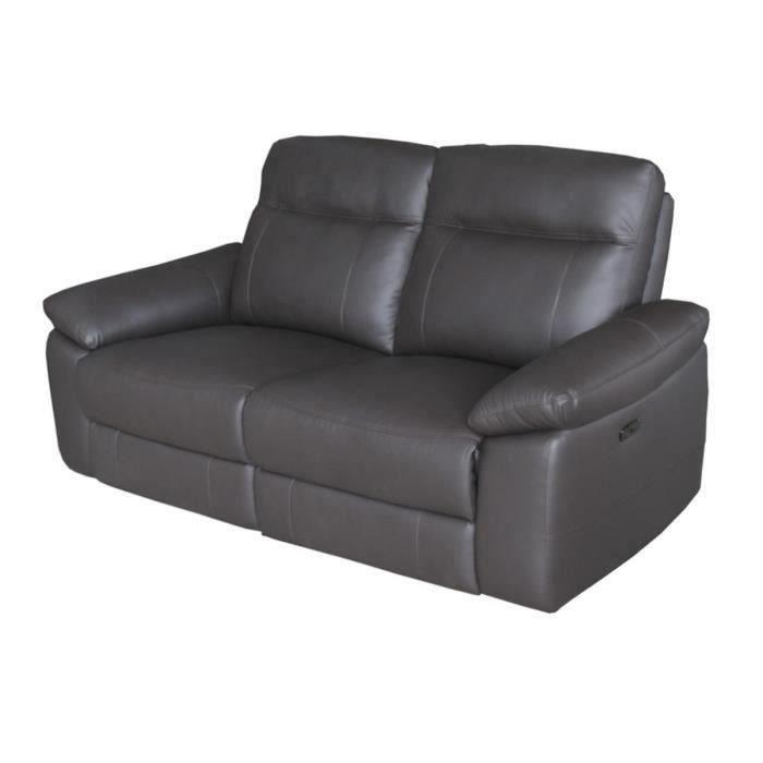 LEONARA Canapé 3 places dont 2 relax électriques - Cuir Marron - L 204 x P 96 x H 102 cm
