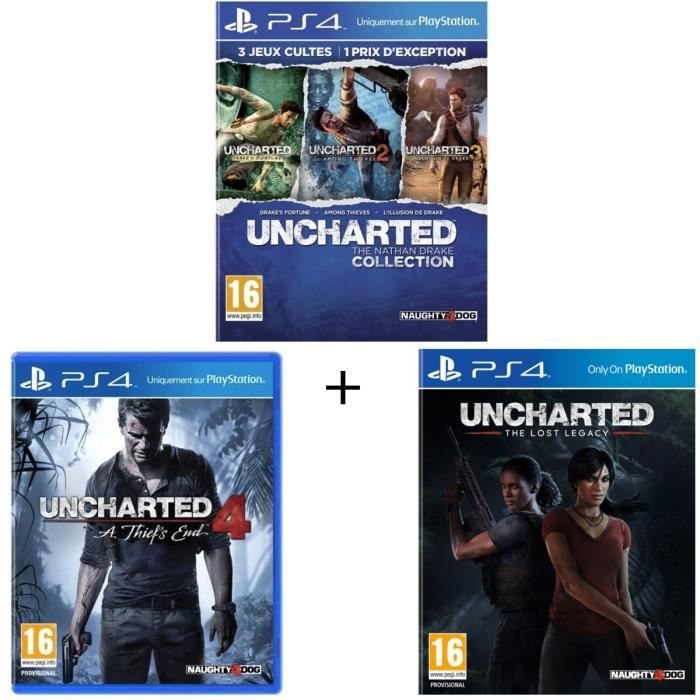 Pack Uncharted : The Nathan Drake Collection + Uncharted 4 : A Thief's End + Uncharted : The Lost Legacy
