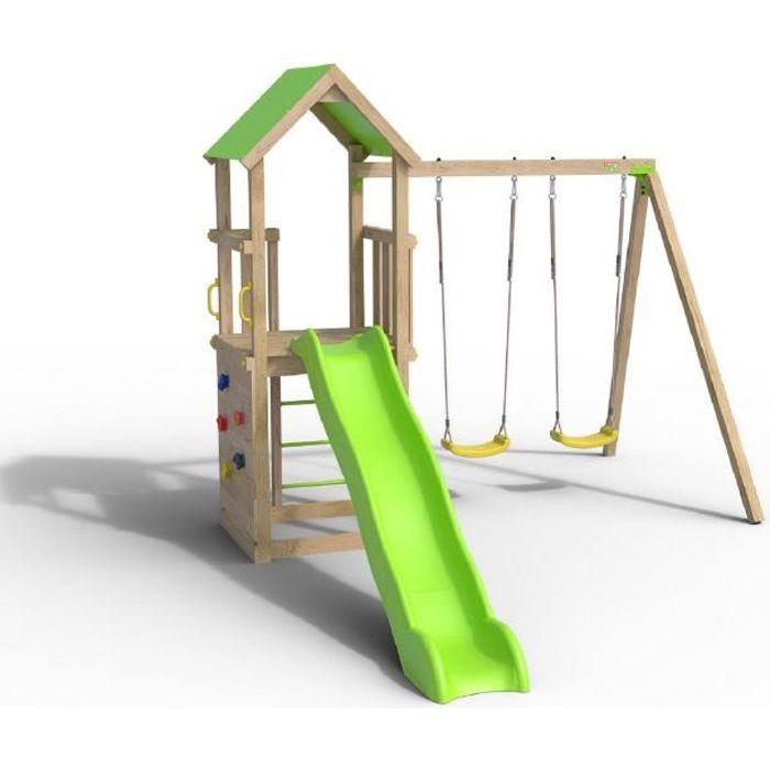 Aire de jeux SMART XPERIENCE, PF 1,20m, bac à sable, mur de grimpe, toboggan 2,63m + extension portique 2,20m, 2 balançoires