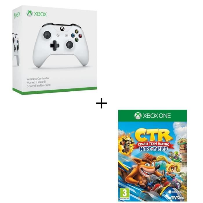 Manette sans fil Xbox One blanche compatible PC + Crash Team Racing Nitro Fueled Jeu Xbox One