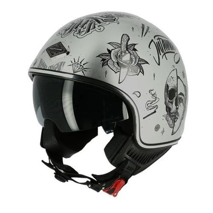 ASTONE Casque moto Jet mini 66 Flash tatoo - Gris argenté brillant