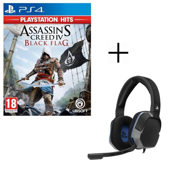 Assassin's Creed 4 Black Flag Playstation HITS Jeu PS4 + Casque Afterglow Level 3