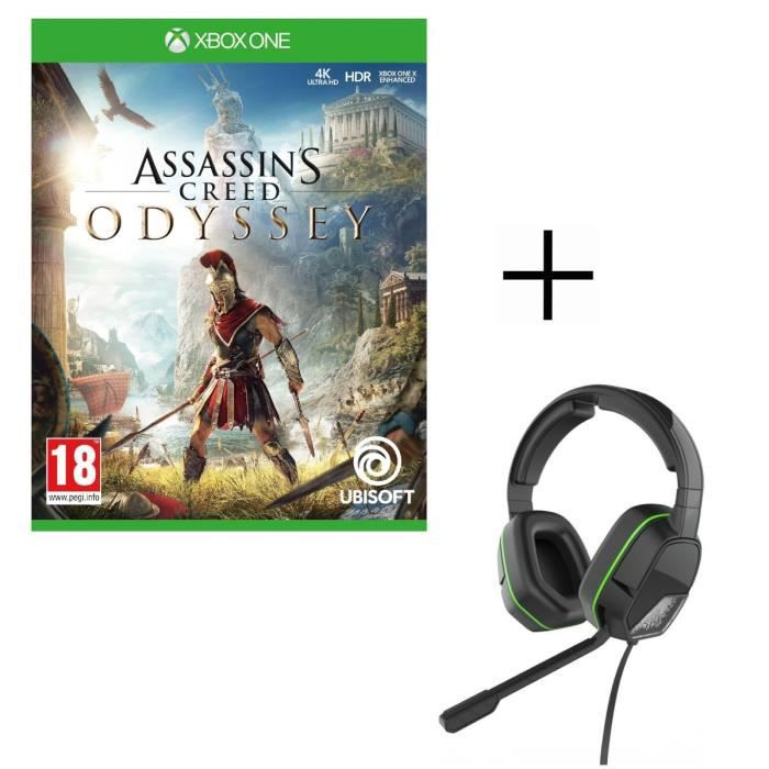 Assassin's Creed Odyssey Jeu Xbox One + Casque Afterglow LVL3 pour Xbox One