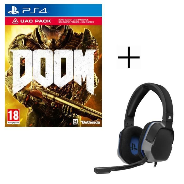 DOOM UAC Pack Jeu PS4 + Casque Afterglow Level 3