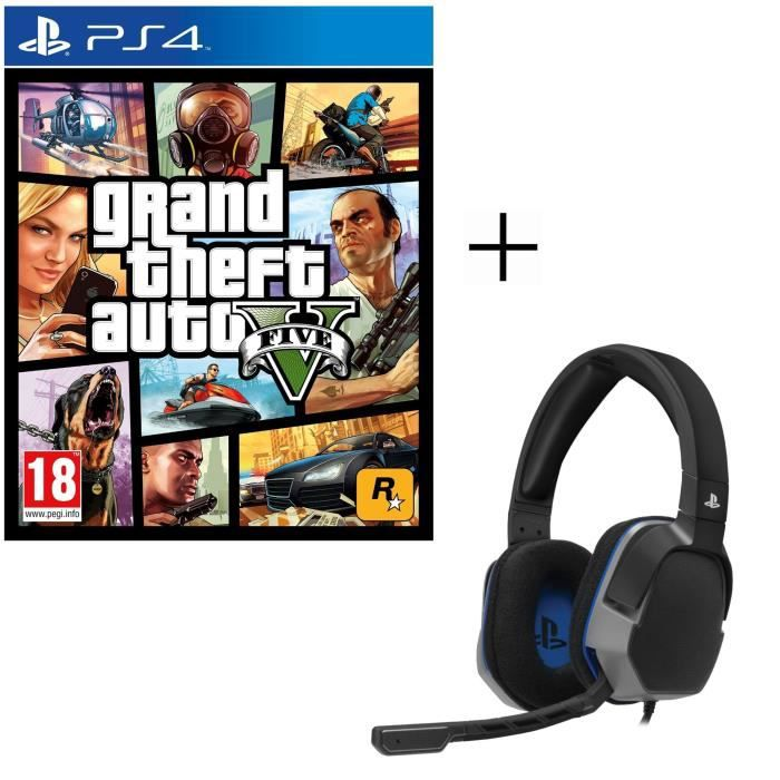 GTA V Jeu PS4 + Casque Afterglow Level 3