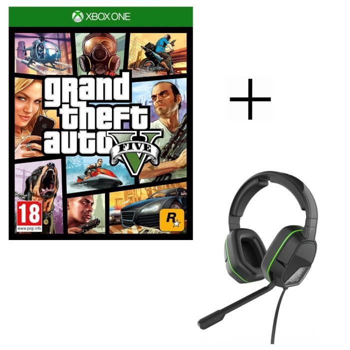 GTA V Jeu Xbox One + Casque Afterglow LVL3