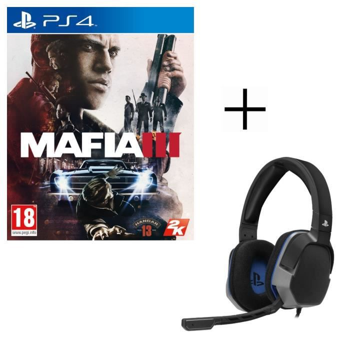 Mafia III Jeu PS4 + Casque Afterglow Level 3