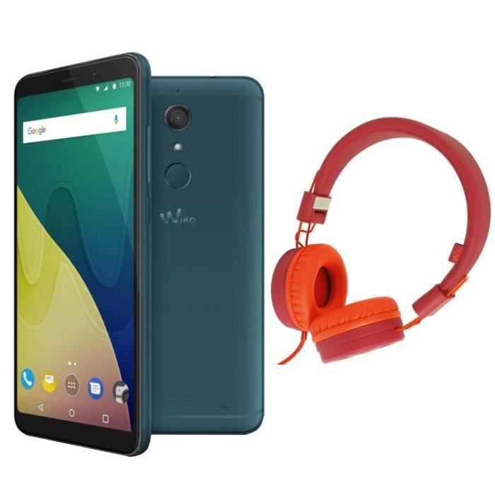 Wiko View XL Deep Bleen + Casque filaire Wiko Wishake Rouge